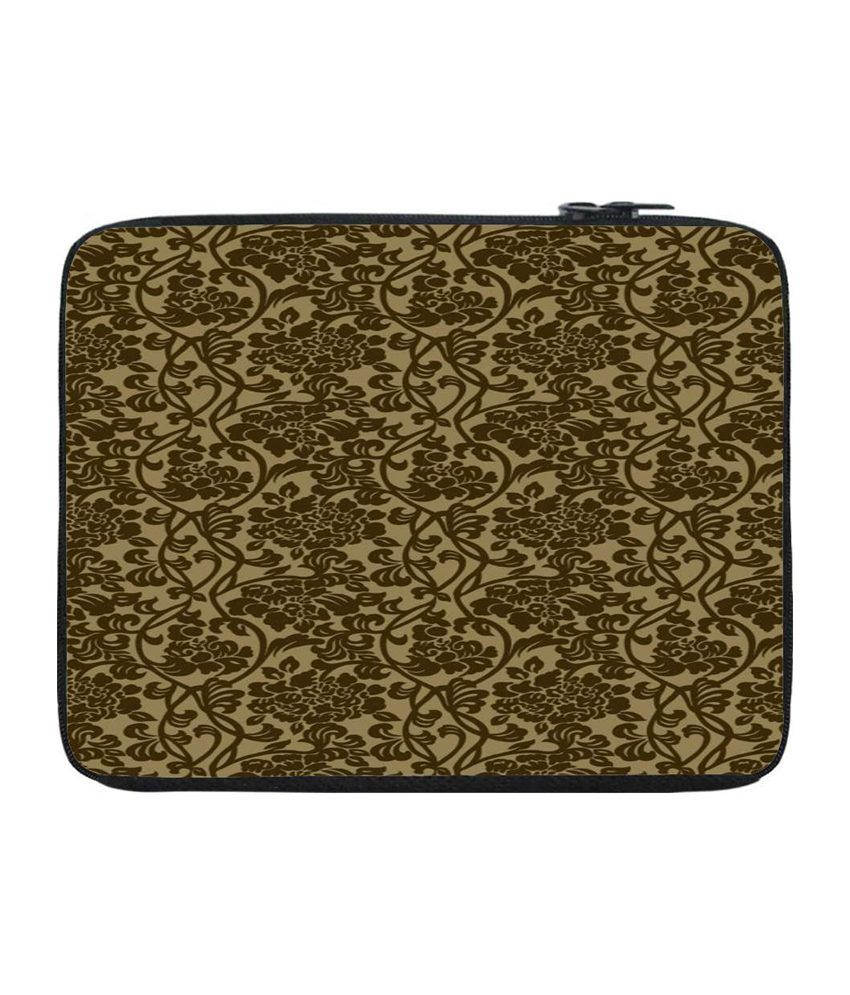 Snoogg Green and Brown Laptop Sleeve