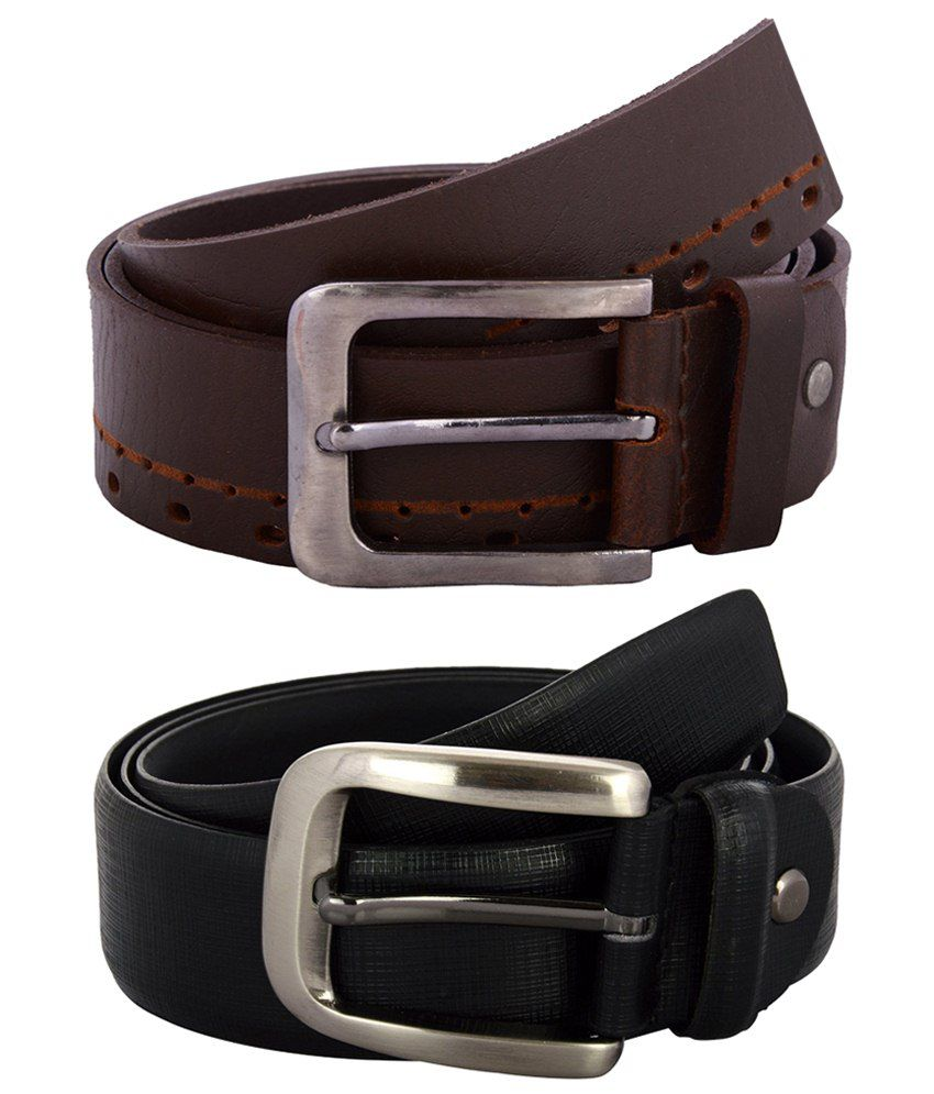 Zohran Awesome Pack of 2 Black & Brown Belts for Men