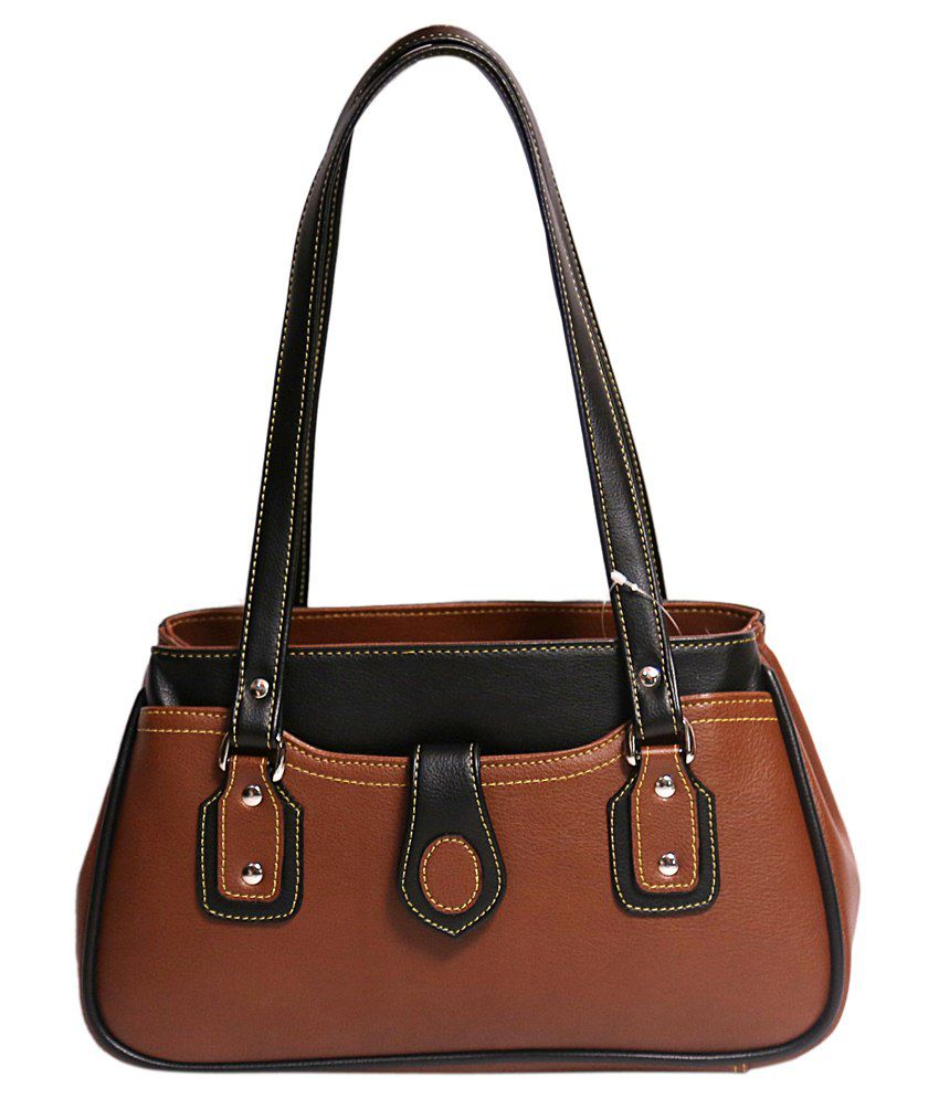 Wenz Designer Light Brown Leather Hand Bags