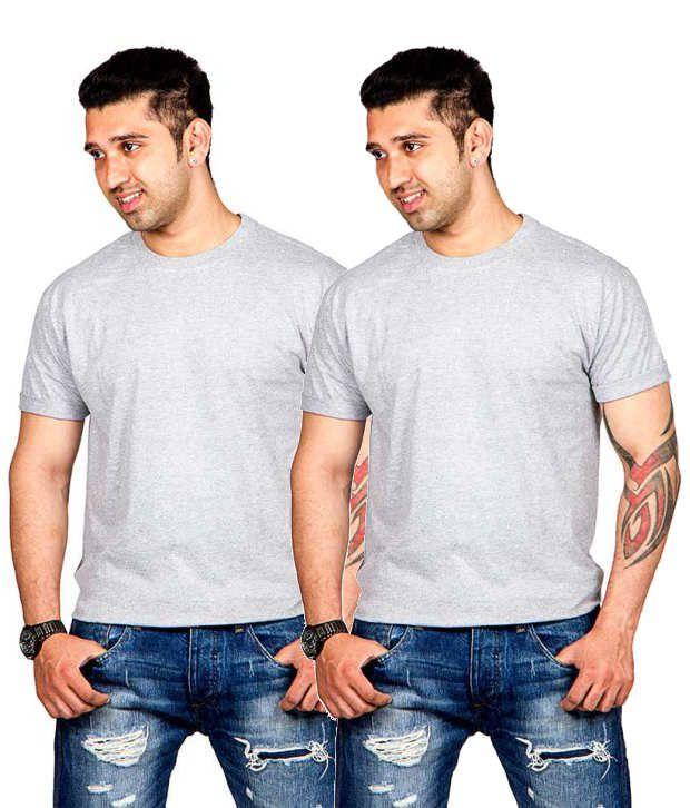 Now Combo of Gray Cotton T-shirts (Pack of 2)