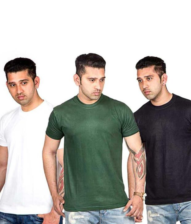 Now Combo of Multicoloured Cotton T-shirts (Pack of 3)