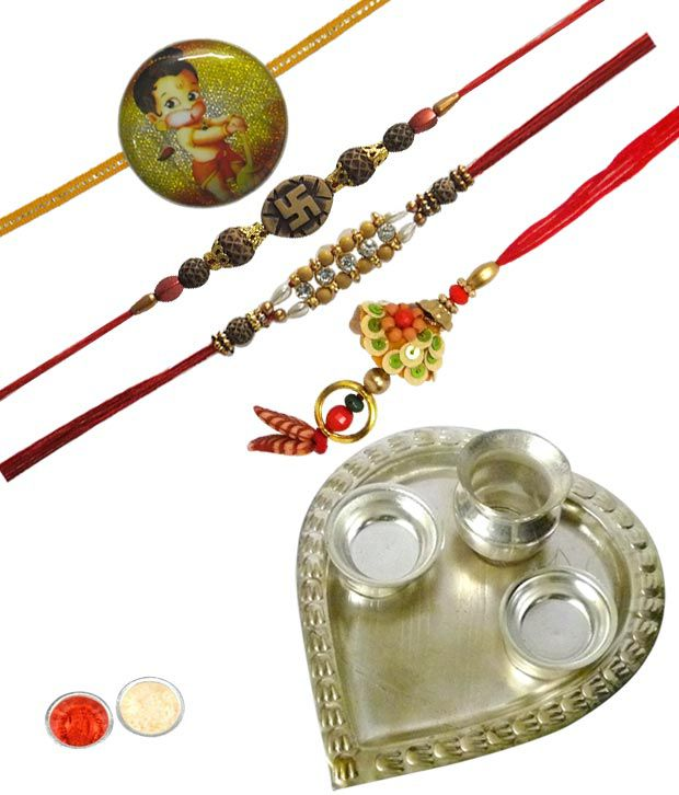A1 Rakhi Awesome Mixed Collection of Four Rakhis for Everyone and Rakhi Thali with Roli Tilak and Chawal