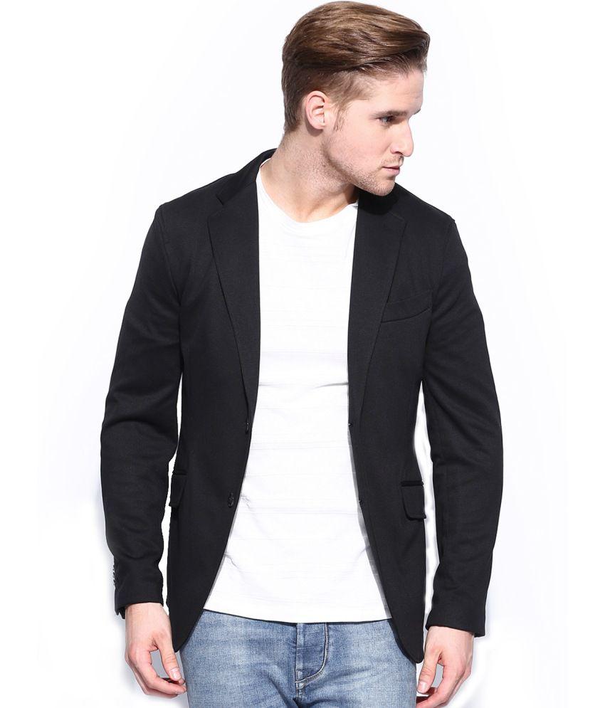 Belario Black Cotton Blend Semi-formal Blazer - Buy Belario Black Cotton Blend Semi-formal ...