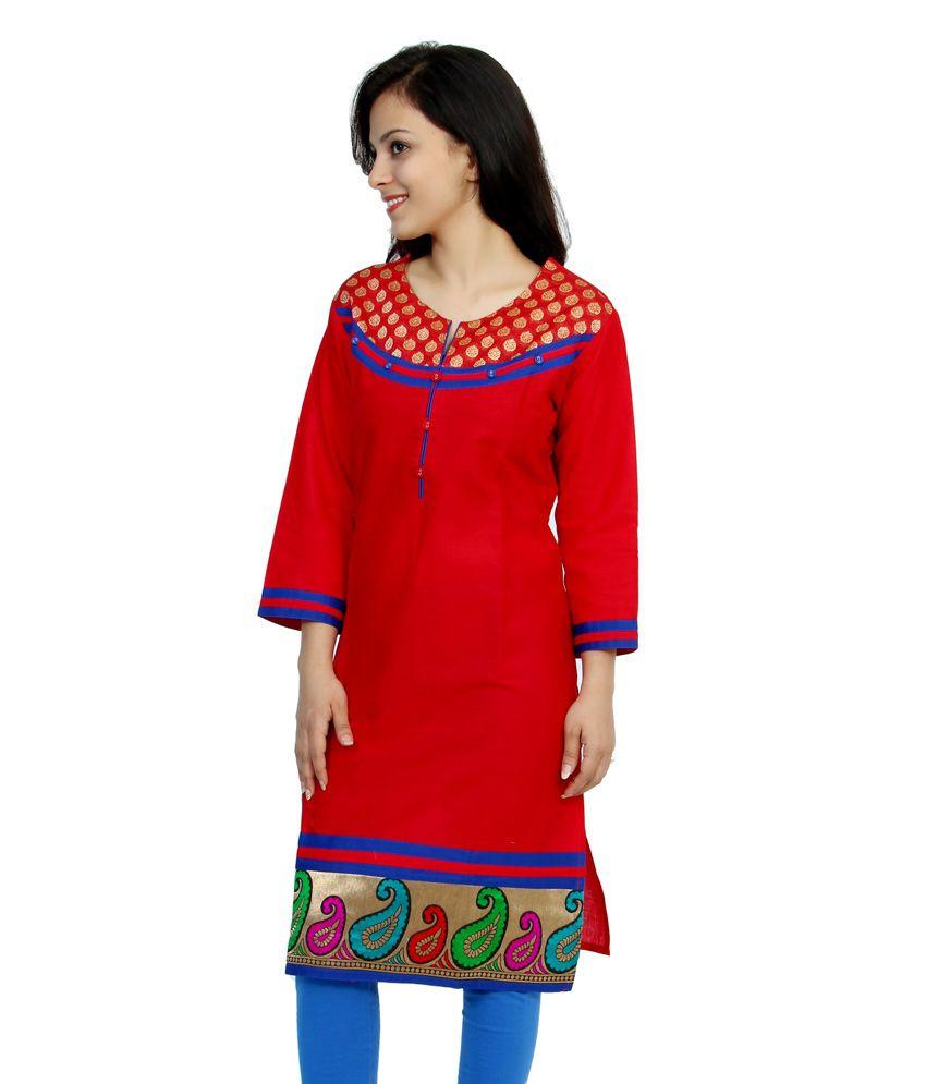 Deepika Fatehpuria Red Cotton Kurti - Buy Deepika ...