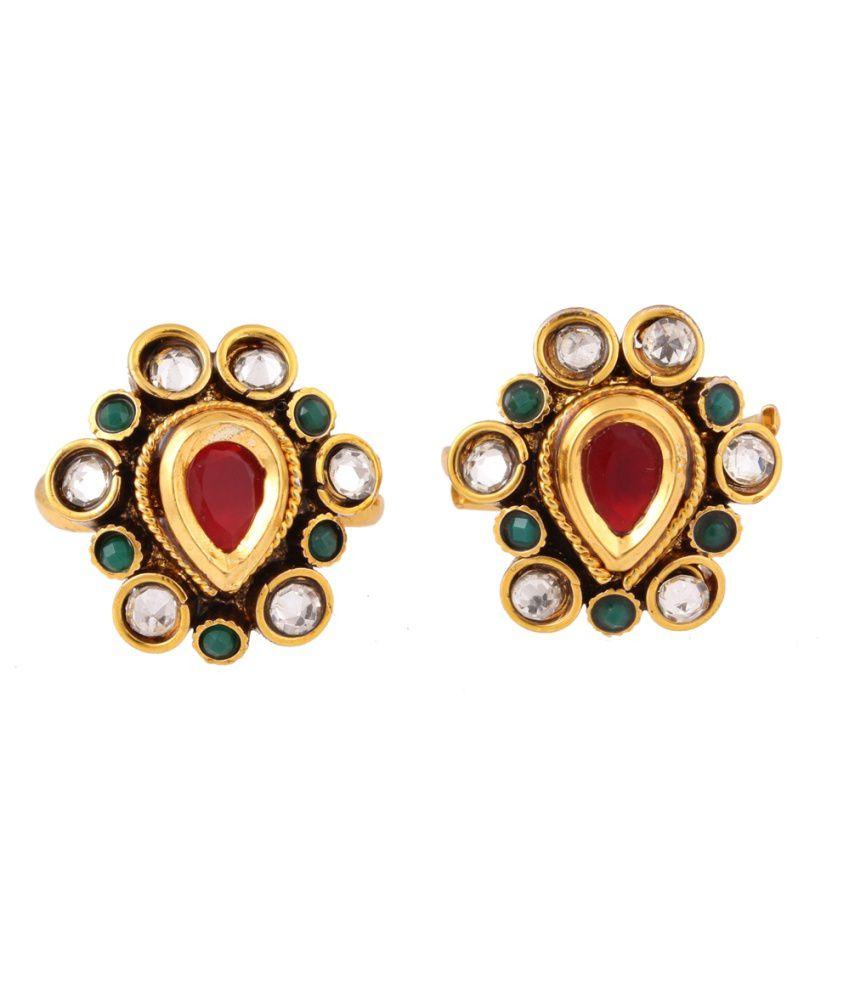 Jstarmart Bridal Golden Alloy Designer Coloured Bead Toe Ring