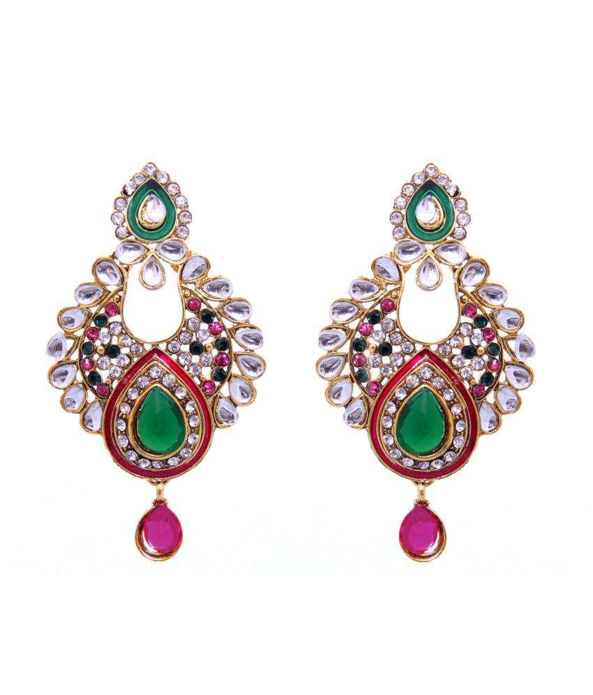 Tradisyon Bollywood Inspired Kundan Green & Pink Chandelier Earring By Kaizer