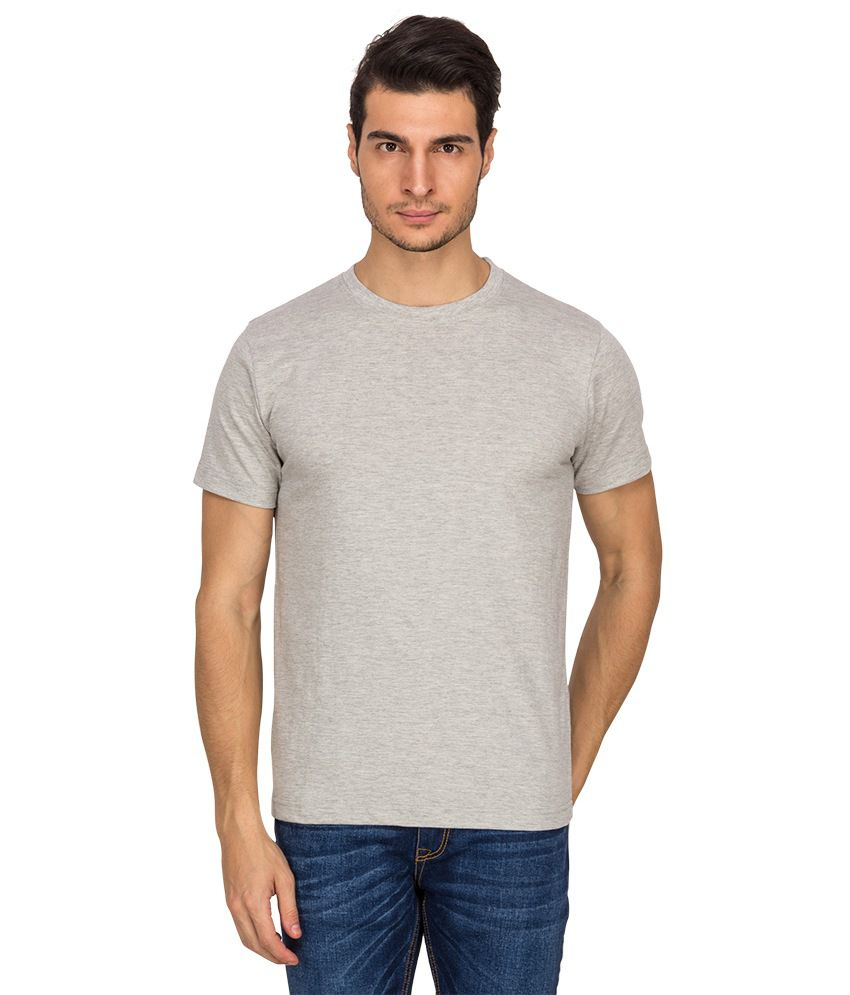 Upright Fabric Gray Cotton Half Sleeve T-shirt (Pack of 2)