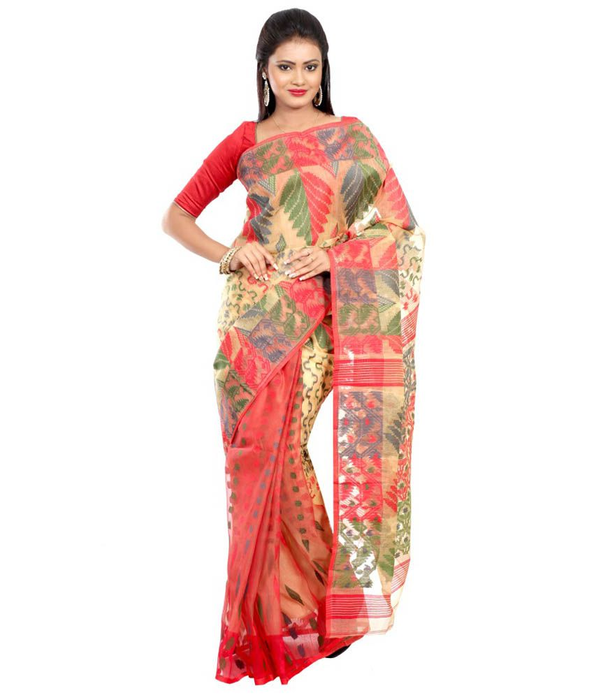 B3fashion Multi Color Cotton Silk Saree