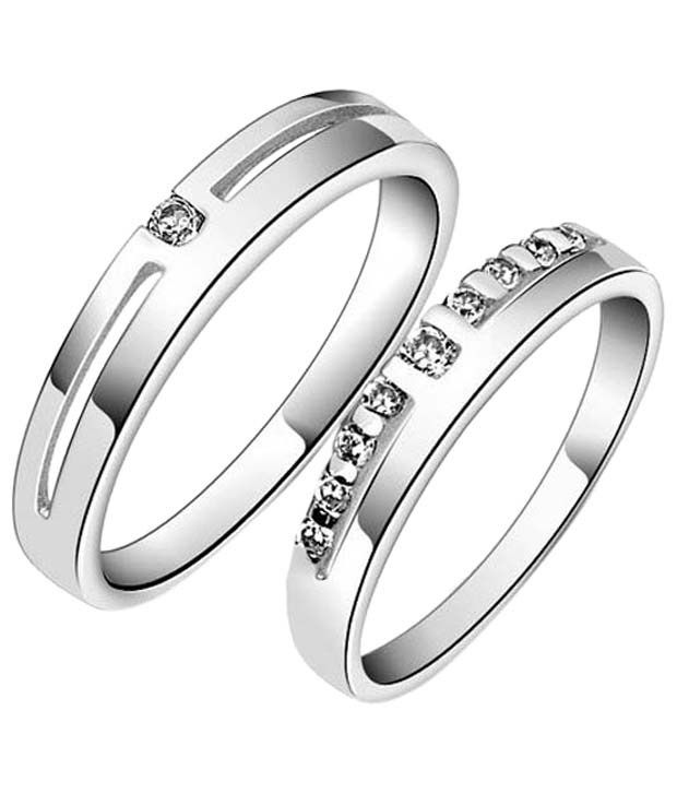 Cara Design House Beautiful Set of 92.5 Sterling Silver Couple Band CZ Rings with Free Swarovski Stud Earrings