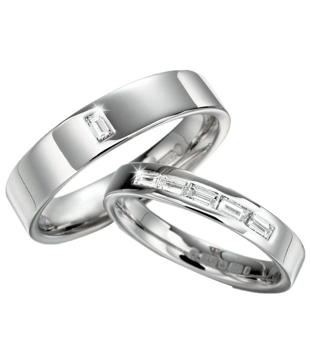 Cara Design House Extraordinary Look Set of 92.5 Sterling Silver Couple Band CZ Rings with Free Swarovski Stud Earrings
