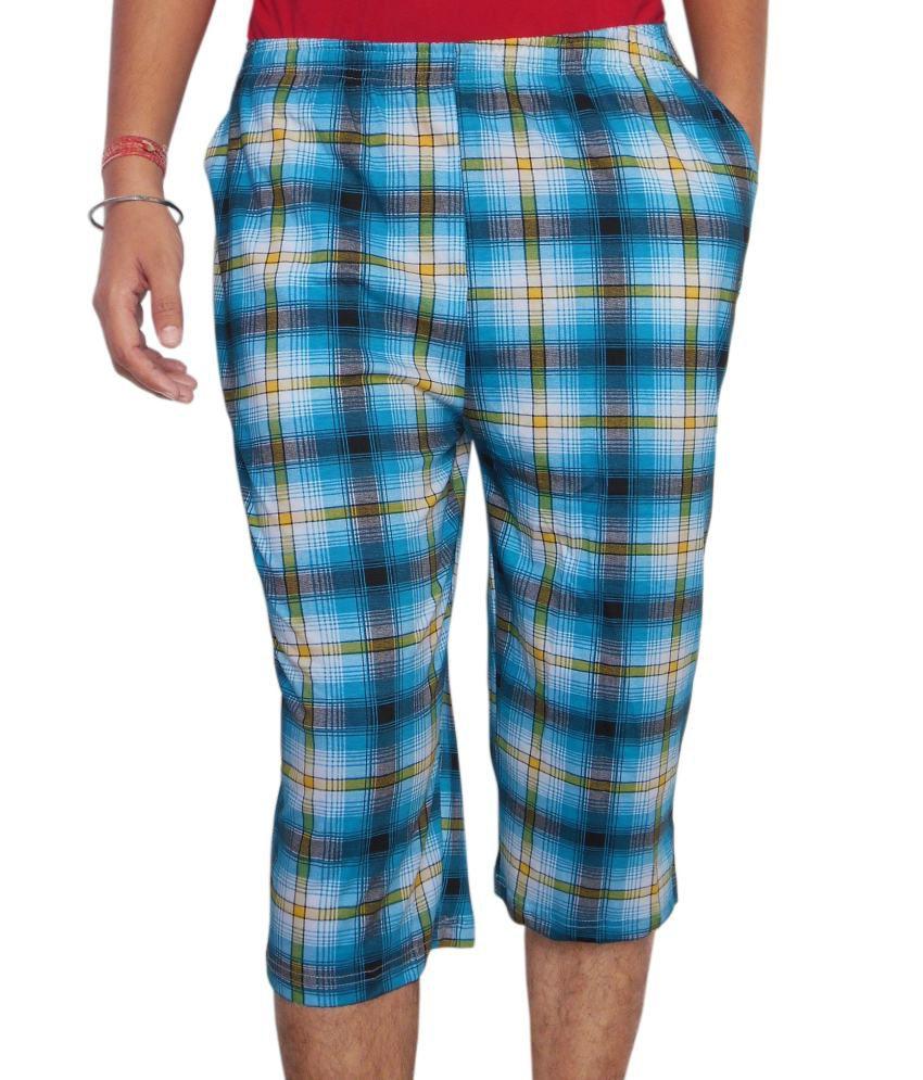 Infinxt Blue Cotton Checkered Three-Fourth For Men