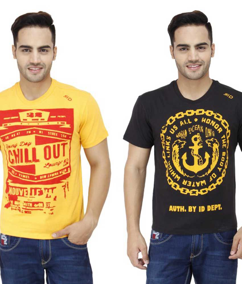 InkDice Combo Of Yellow And Black Cotton T-Shirt