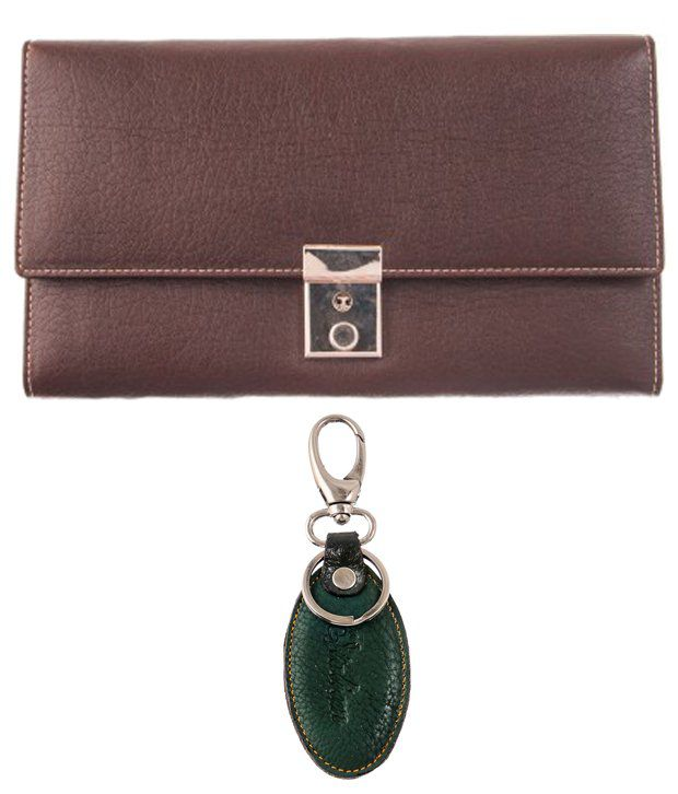Lee Italian Elegant Set of Brown Wallet & Green Keychain for Women