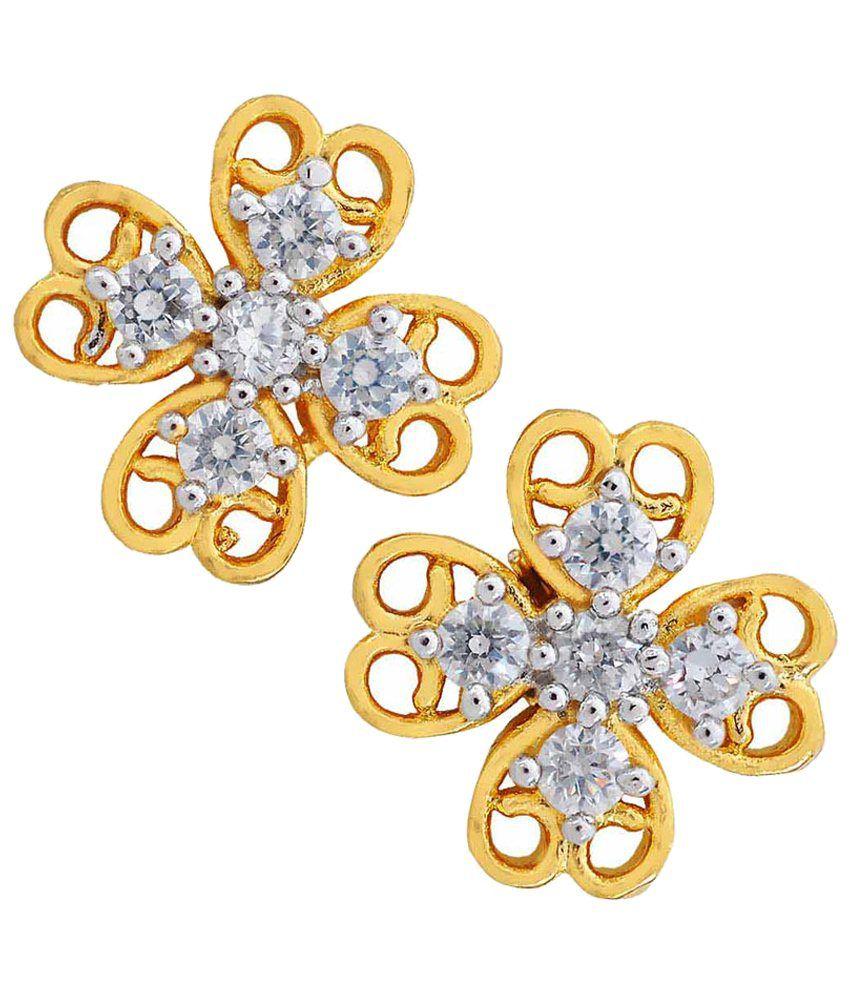 Maayra Elegant Golden American Diamond Stud Earrings