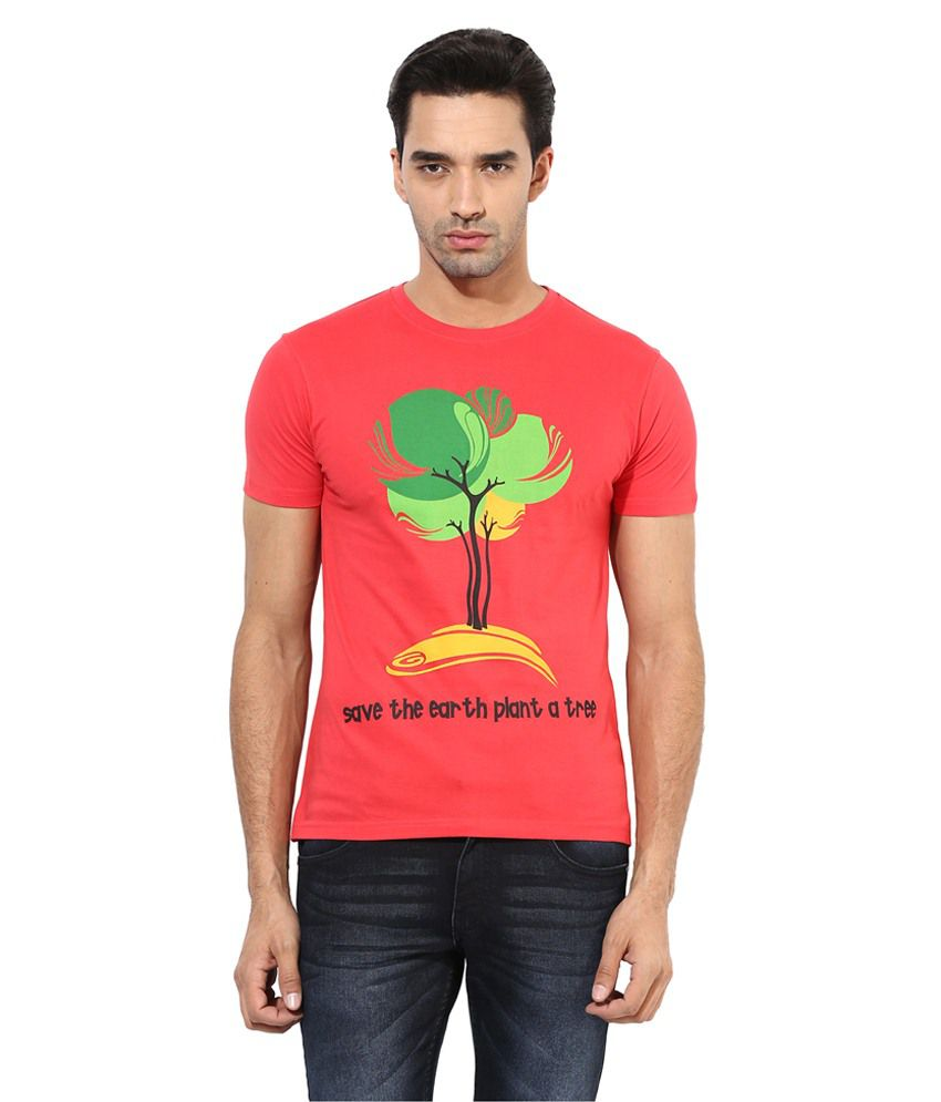 Okane Red & Green Cotton Blend T Shirt