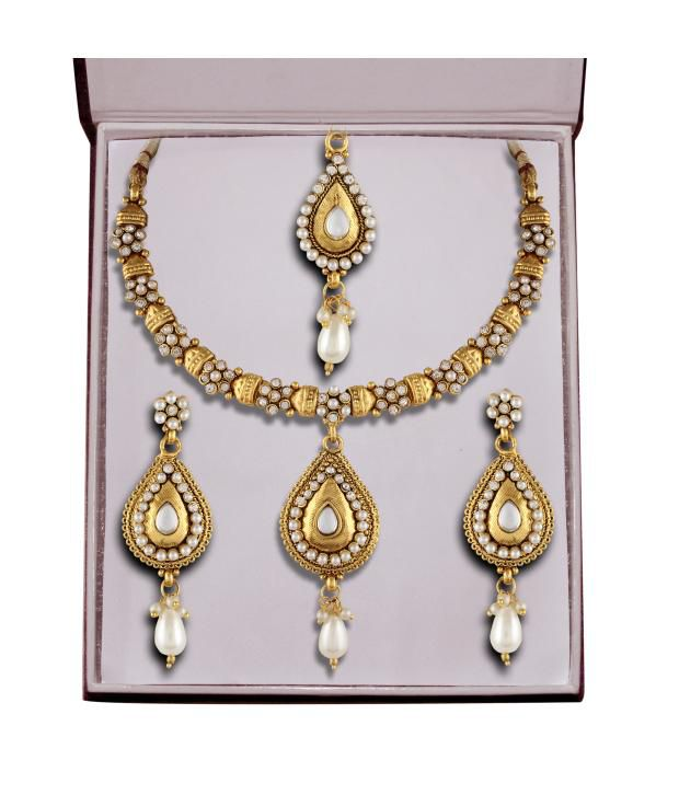 Panini Trendy Antique Necklace Set With Maang Tika