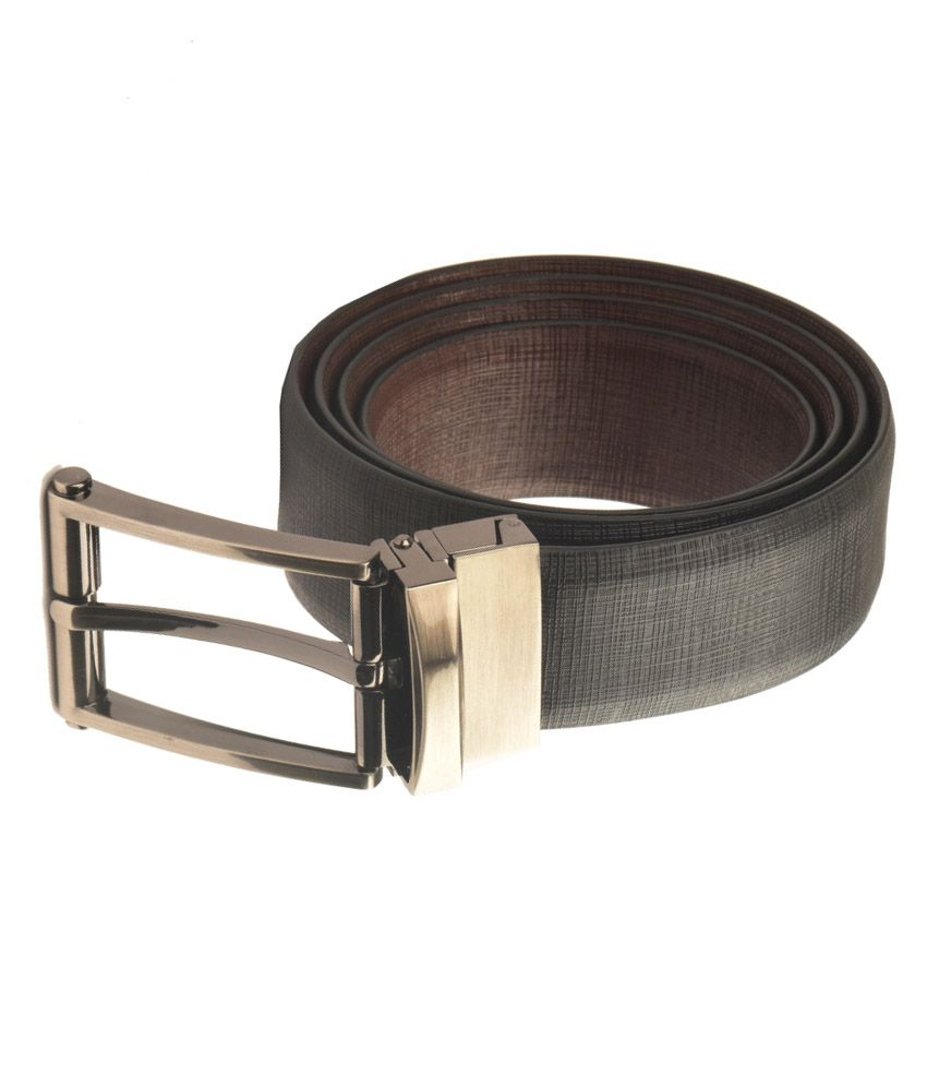 Armaan Leather Black Pin Buckle Reversible Formal Belt For Men