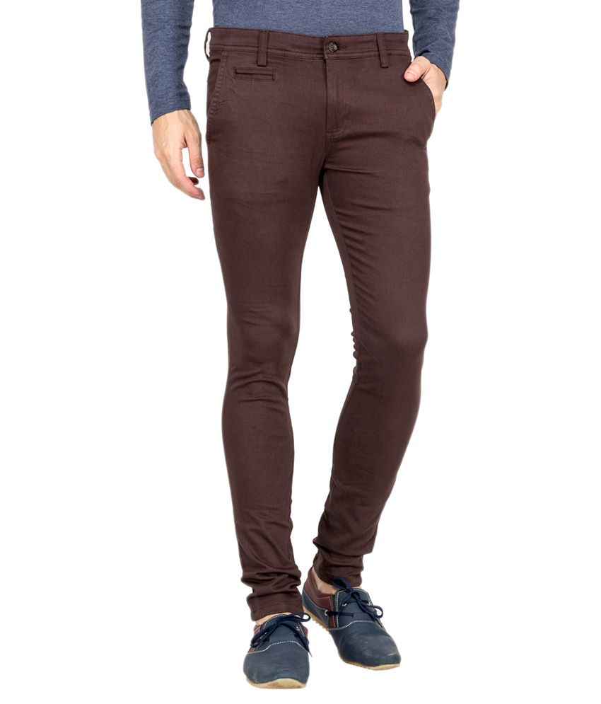 Le Bison Brown Cotton Lycra Slim Fit Chinos