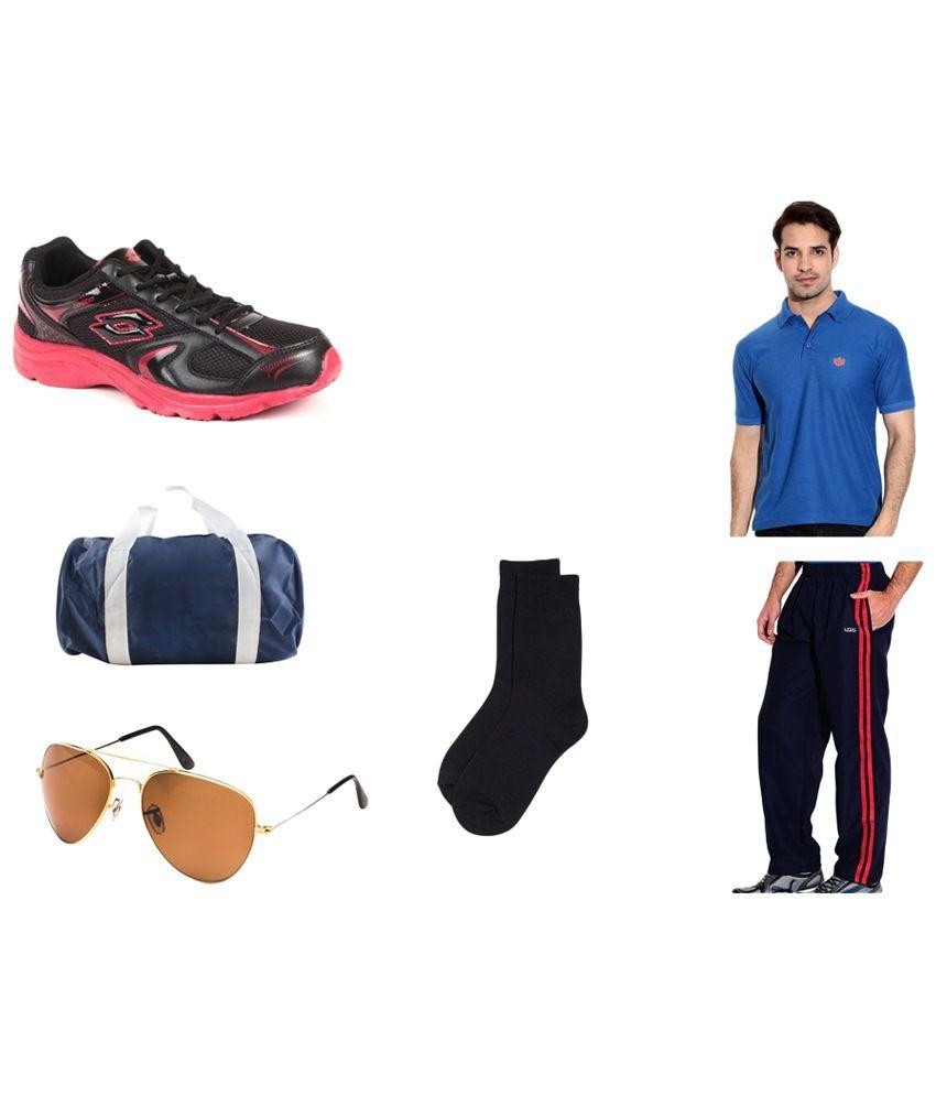 Lotto Combo of Black Sports Shoes, Polo T Shirt, Trackpants, Socks, Gym Bag & Aviator Sunglasses for Men