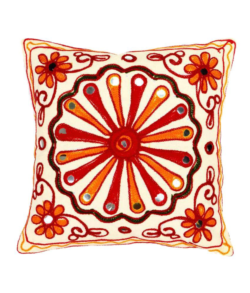 Shiva Solutions Multicolour Embroidery Cotton Cushion Cover - Set Of 5