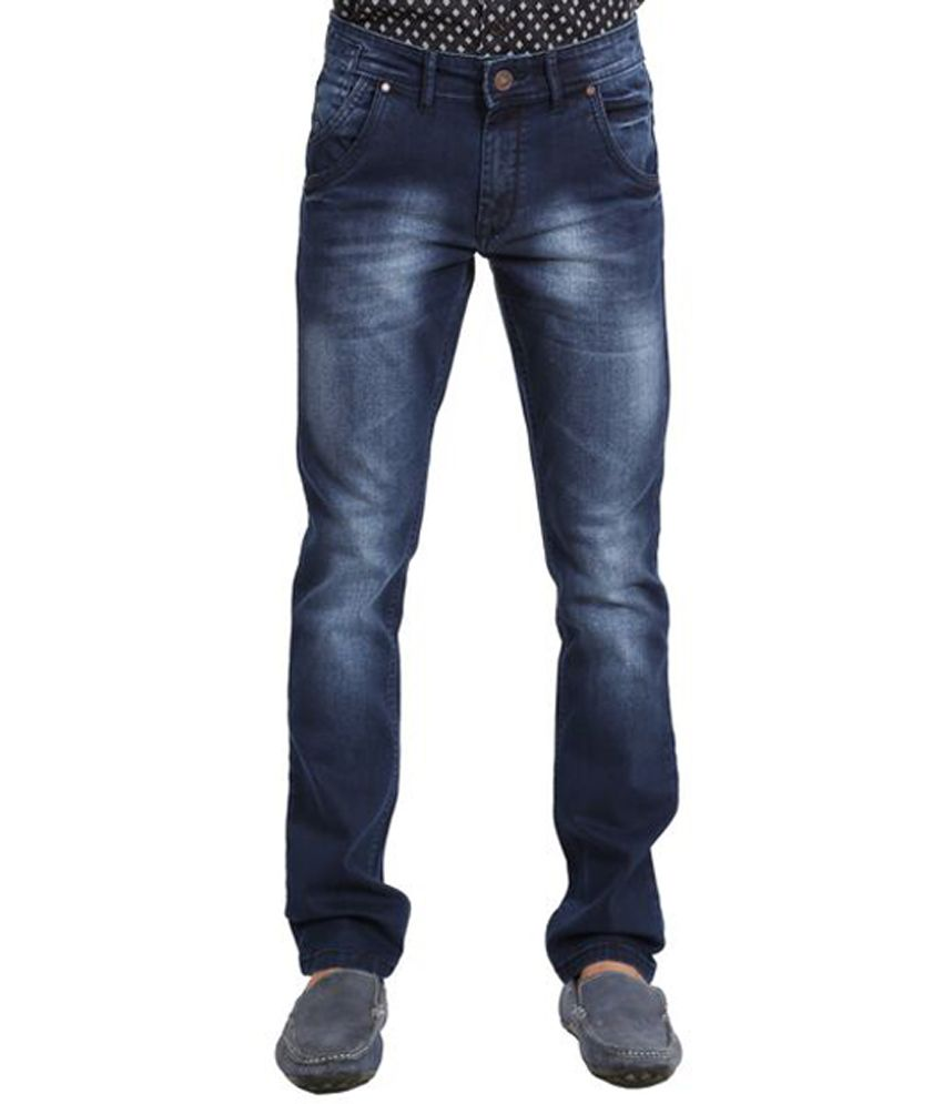 White House Jeans Navy Blue Cotton Blend Faded Jeans