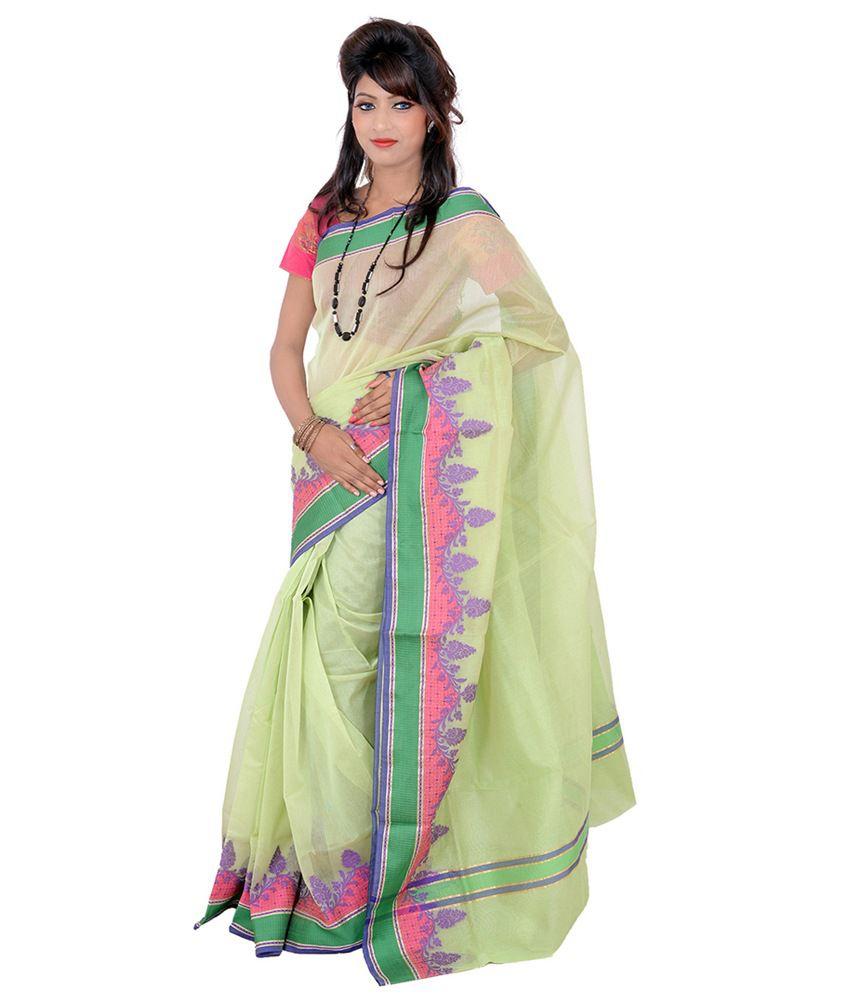 Banarasi Silk Works Green Net Saree