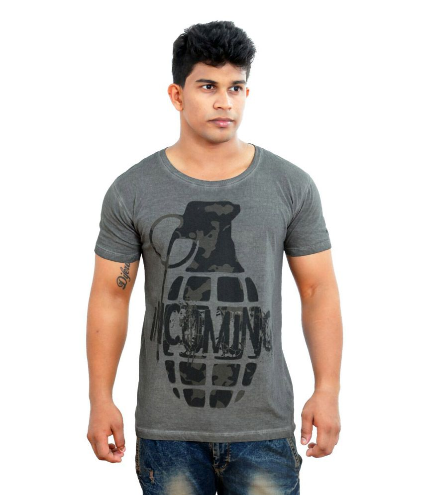 Just T Shirt And T Shirt Gray Cotton Blend Tees
