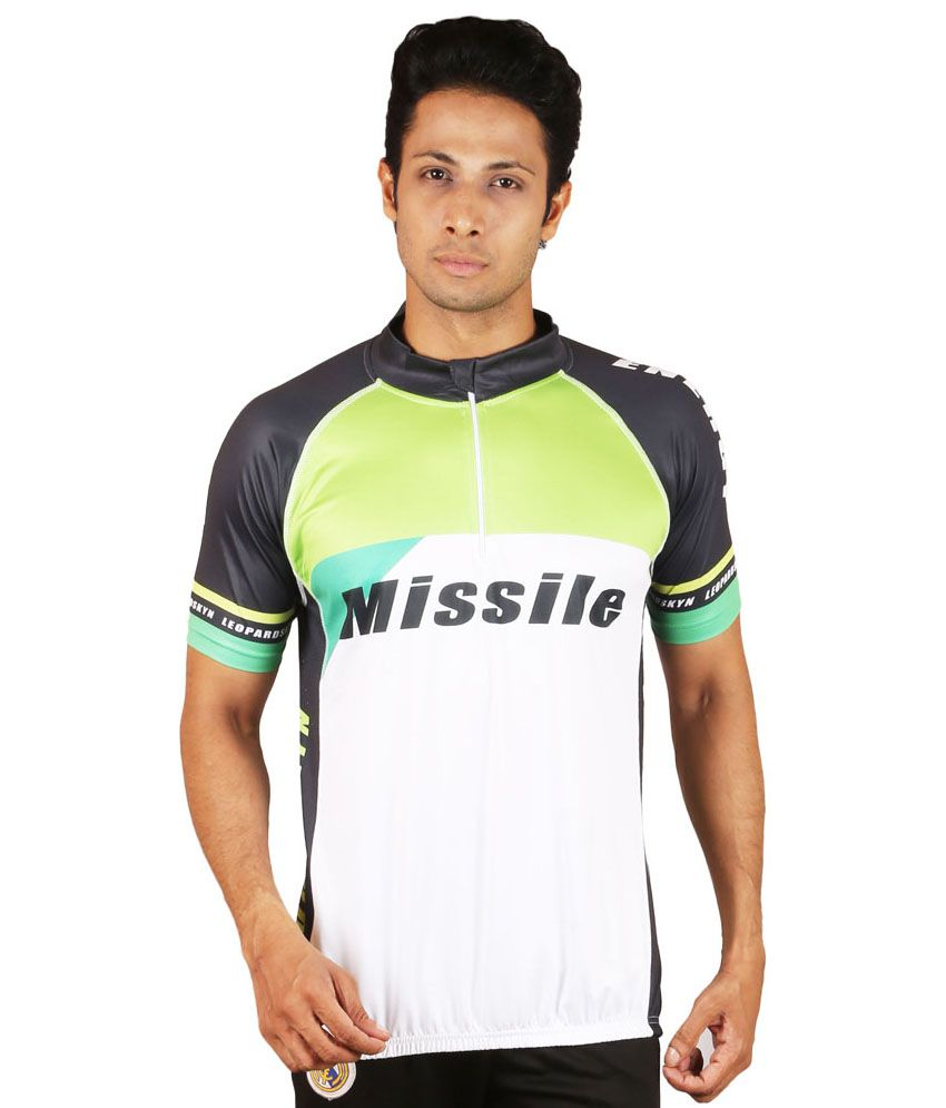 Leopardskyn White And Green Polyester Cycling T-Shirt For Men