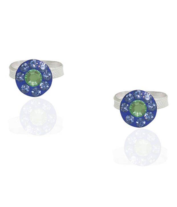 Pehchan Blue German Silver Free Size Toe Ring