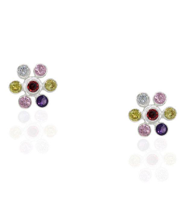 Pehchan Floral Multi Color Zirconia German Silver Free Size Toe Ring