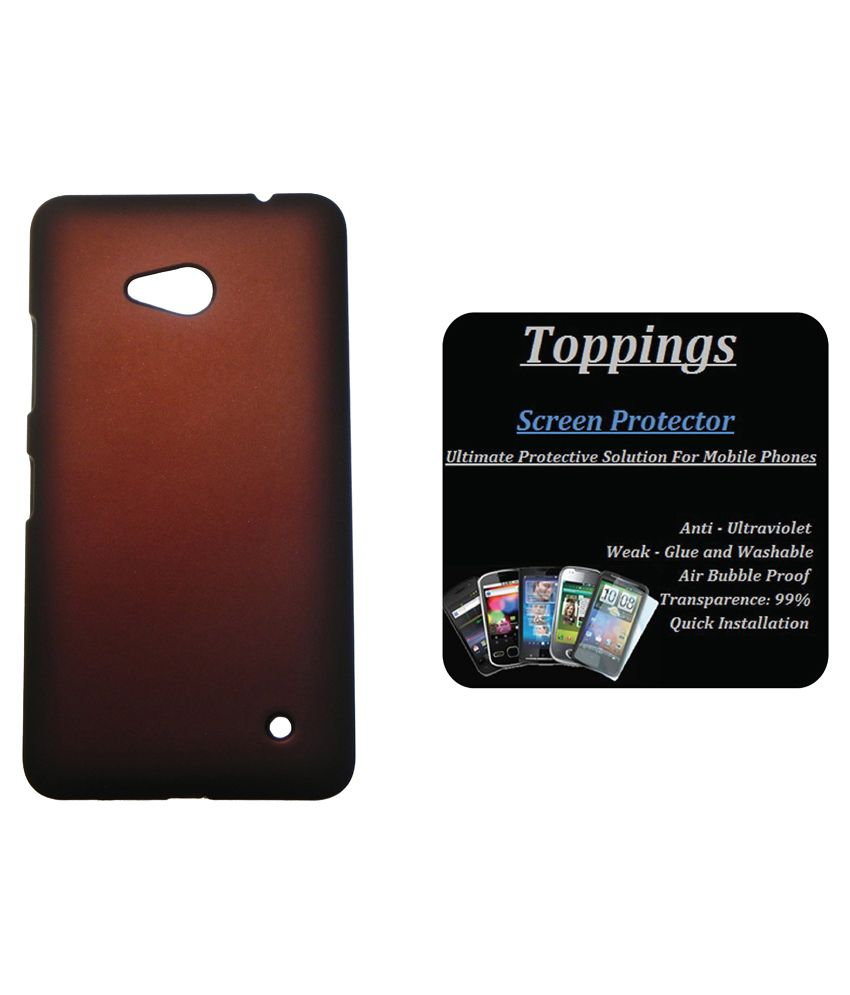Toppings Back Cover With Screen Guard For Microsoft Lumia 640 - Brown