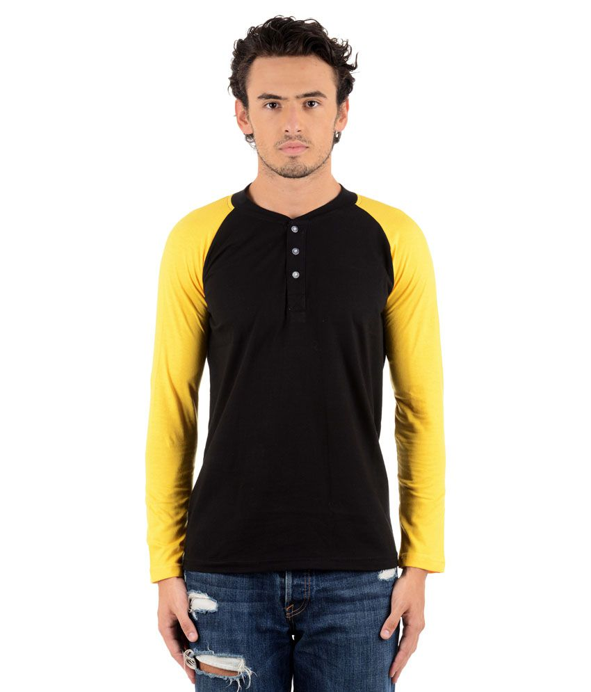 Big Idea Black-Yellow Cotton Blend Henley T-Shirt
