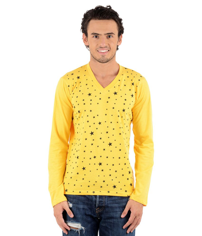 Big idea yellow cotton blend v neck t shirt buy big idea for Large v neck t shirts