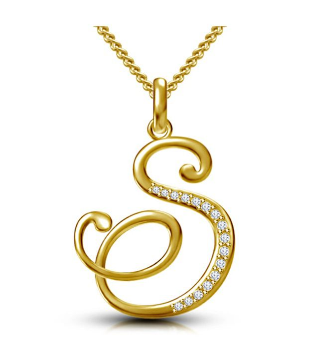 Kataria Jewellers Letter S Gold Plated 92.5 Sterling Silver And Swarovski  Alphabet Initial Pendant ...