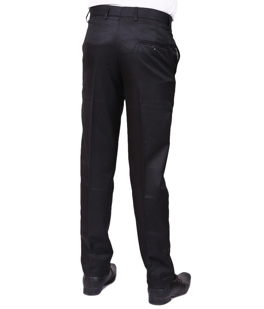 Search Black Cotton Blend Formals Trouser
