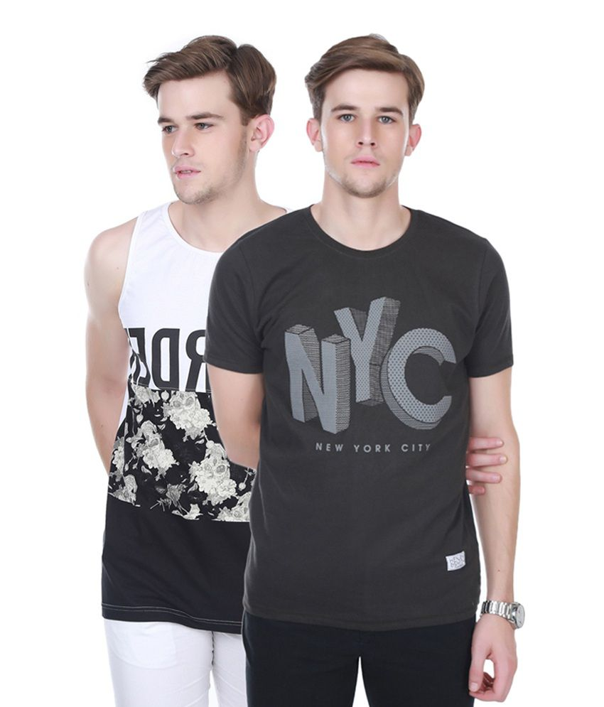 Henry and Smith Black & White Cotton Printed T-shirts (Pack of 2)