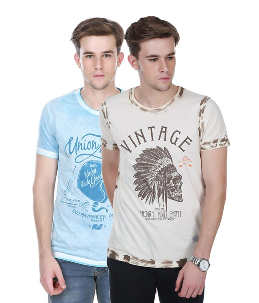 Henry and Smith Blue & Beige Cotton Printed T-shirts (Pack of 2)