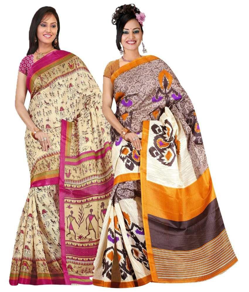 Indianefashion Multi Bhagalpuri Pack of 2