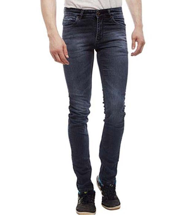 Lacrossejeans Blue Cotton Heavy Wash Faded Men's Jeans