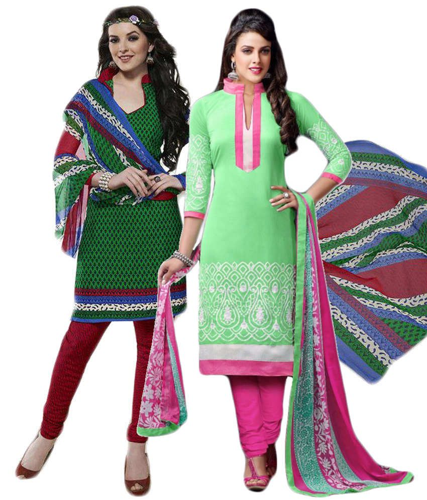 Sree Impex Green Others Unstitched Dress Material