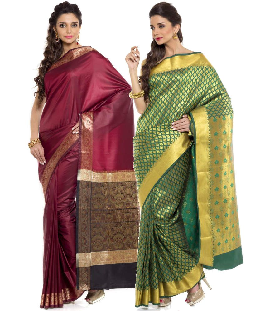 Sudarshan Silks Green and Maroon Art Silk Pack of 2