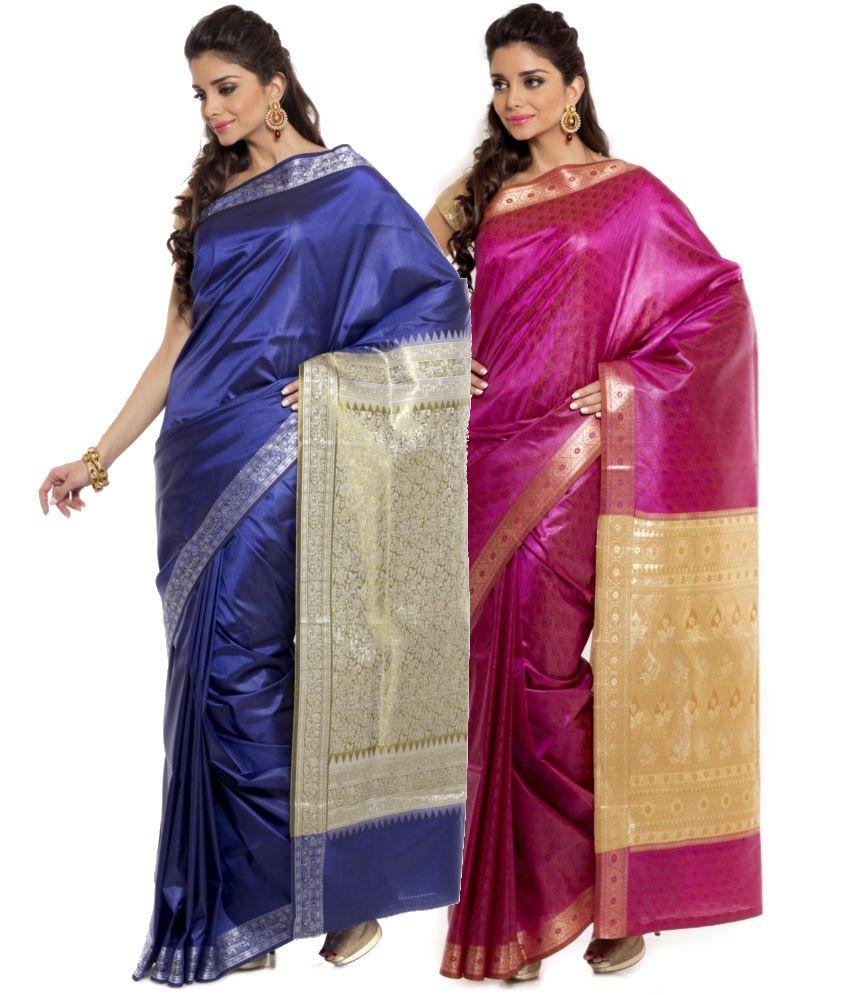 Sudarshan Silks Pink and Navy Art Silk Pack of 2
