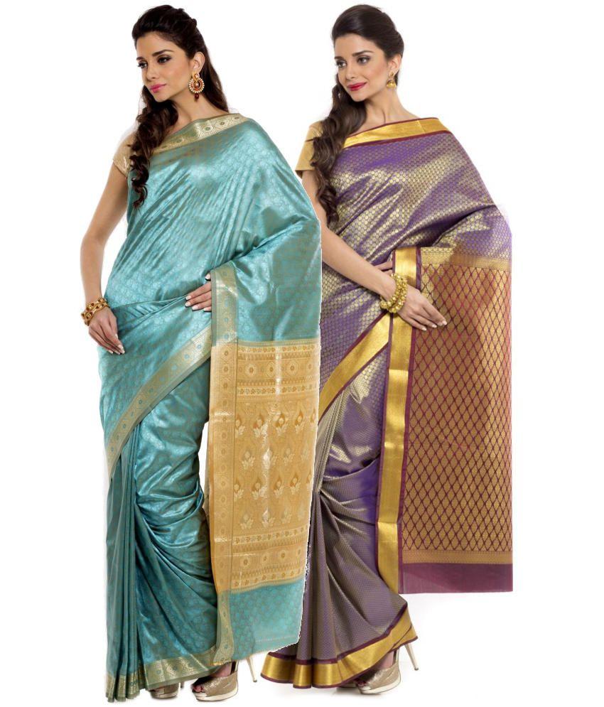 Sudarshan Silks Turquoise and Purple Art Silk Pack of 2