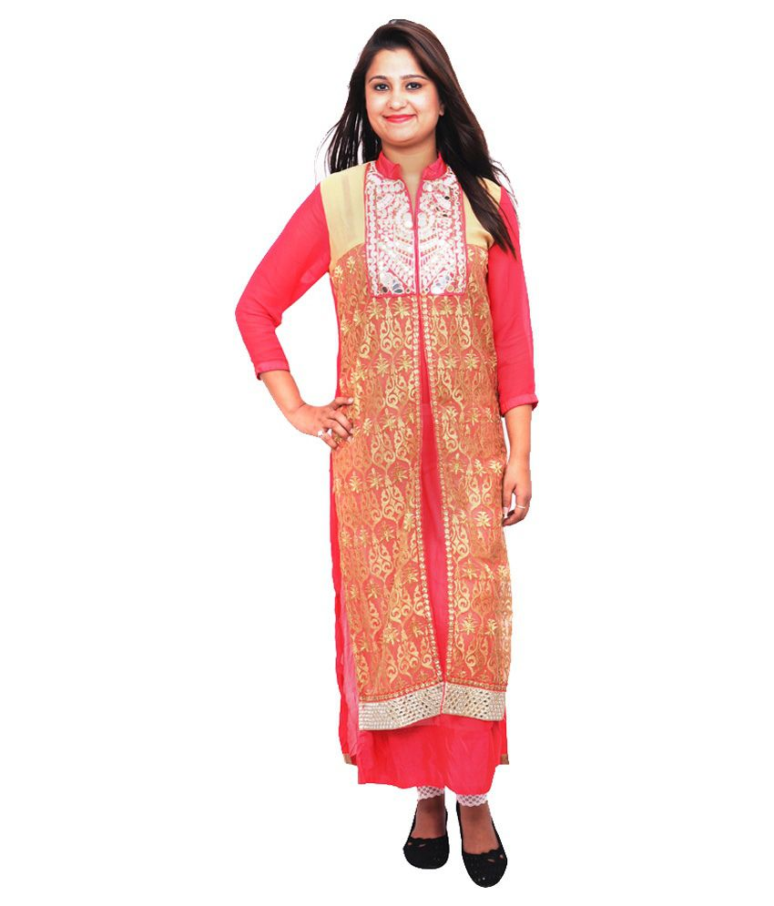 Tlh Red Georgette Straight Unstitched Dress Material