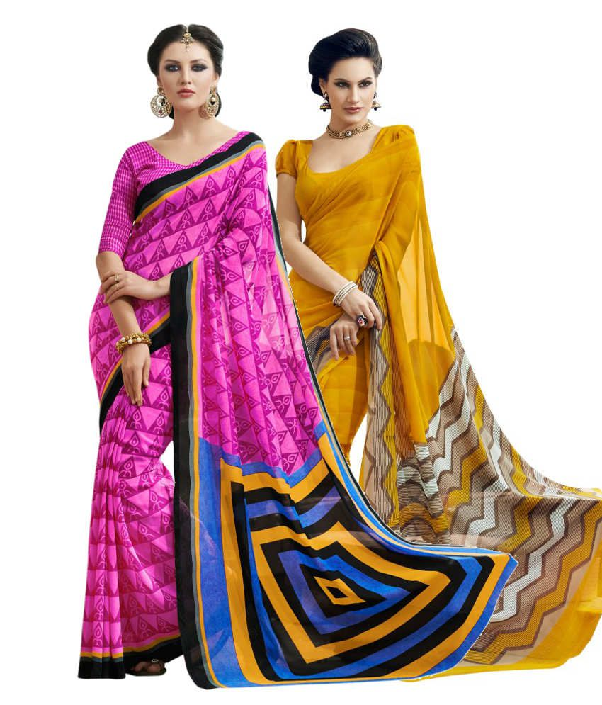 Aaboli Pink and Yellow Art Silk Pack of 2