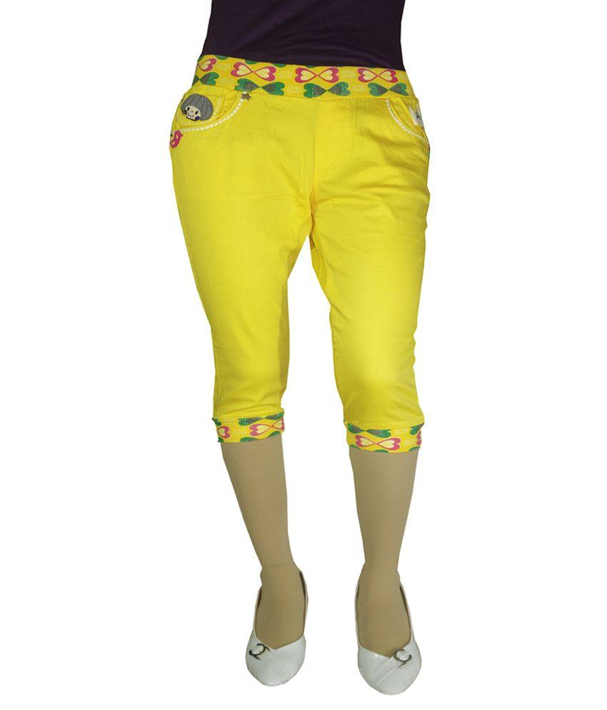 Anjan Yellow Cotton Solid Capris