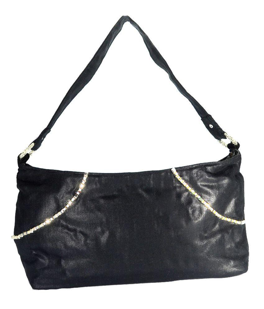 Arisha Kreation Co Black Silver Stone Studded Shoulder Bag