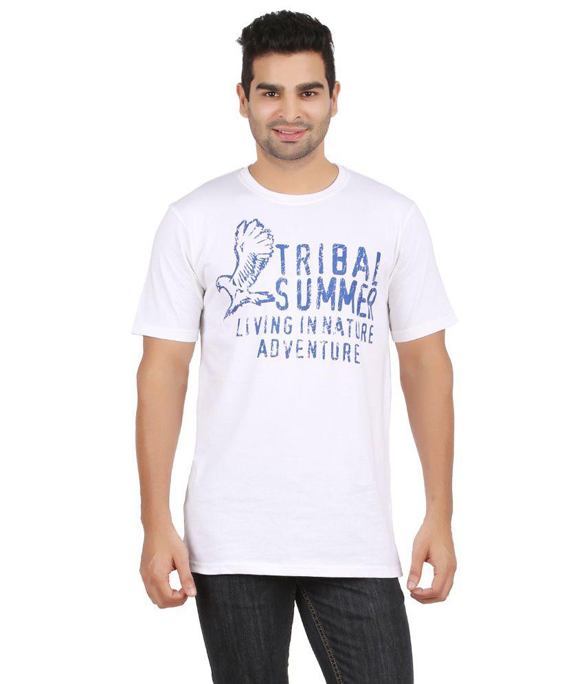 Chevy White Cotton Round Neck T-Shirt