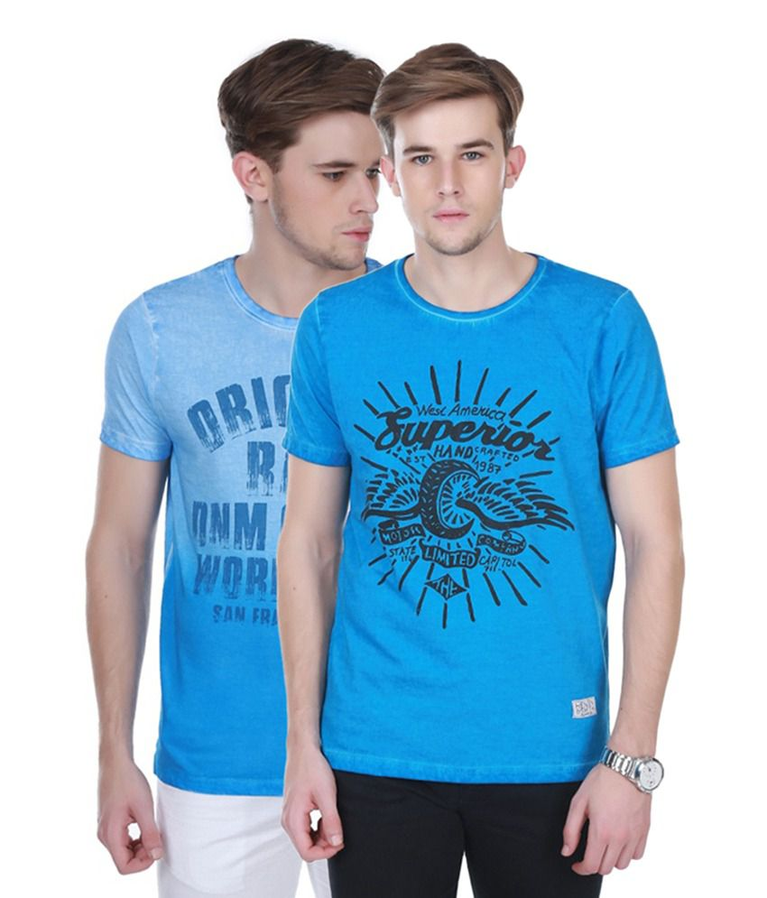 Henry and Smith Blue Cotton Printed T-shirts (Pack of 2)
