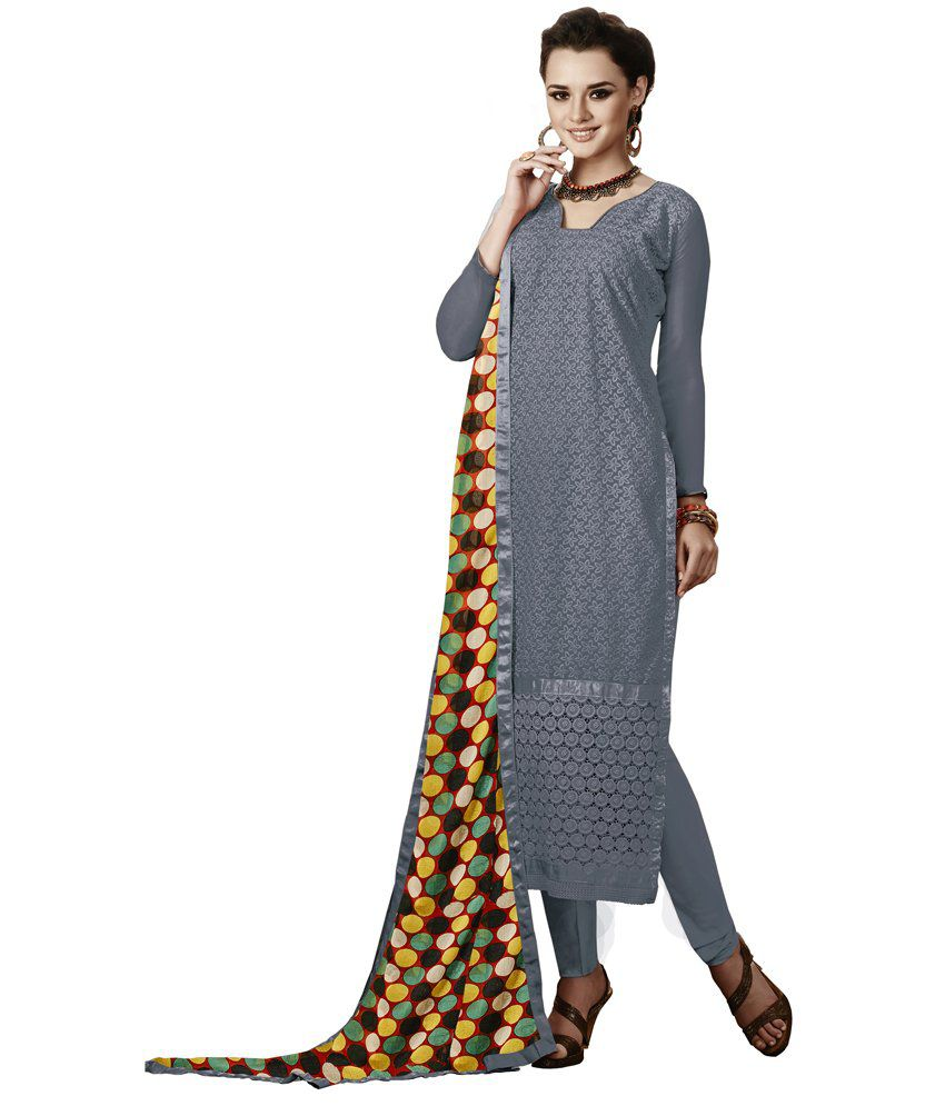 Jiya Gray Faux Georgette Unstitched Dress Material